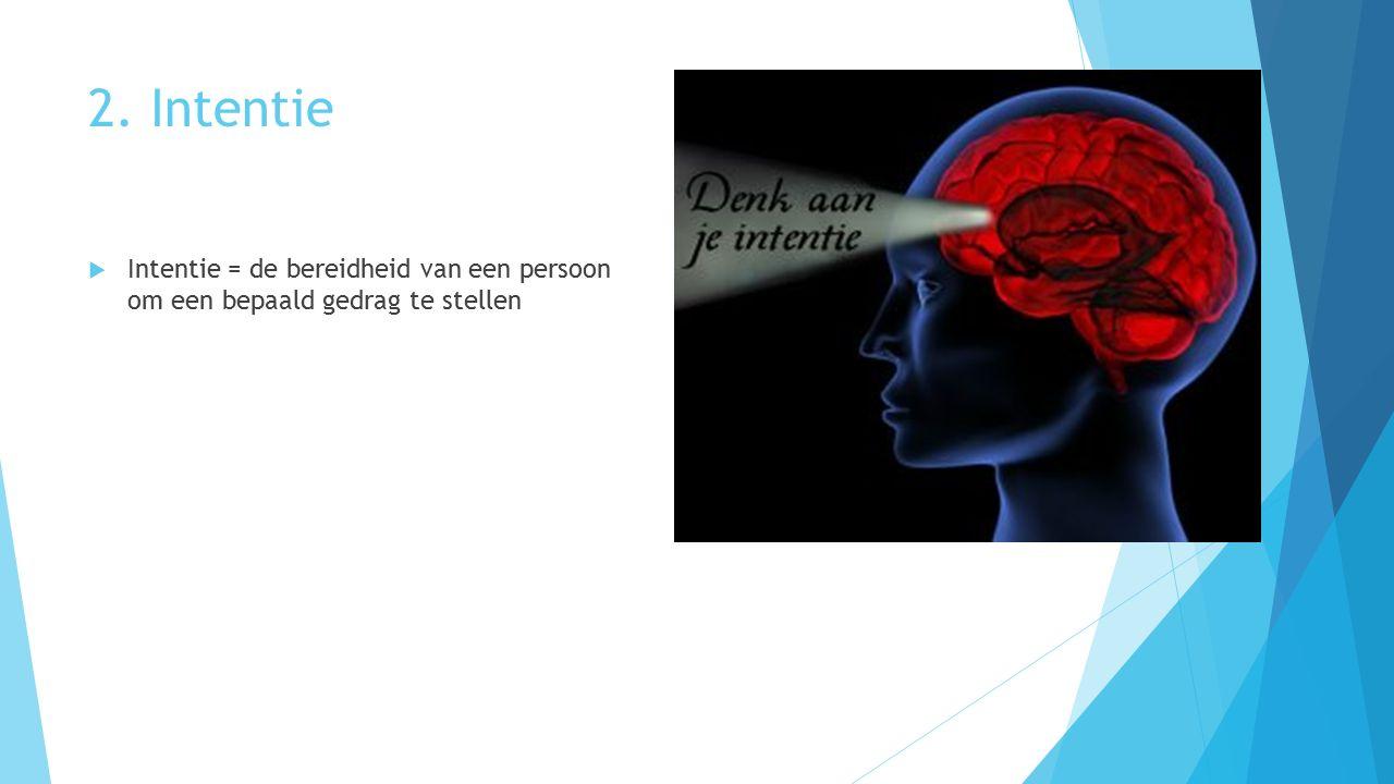 2. Intentie  Intentie = de bereidheid van een persoon om een bepaald gedrag te stellen