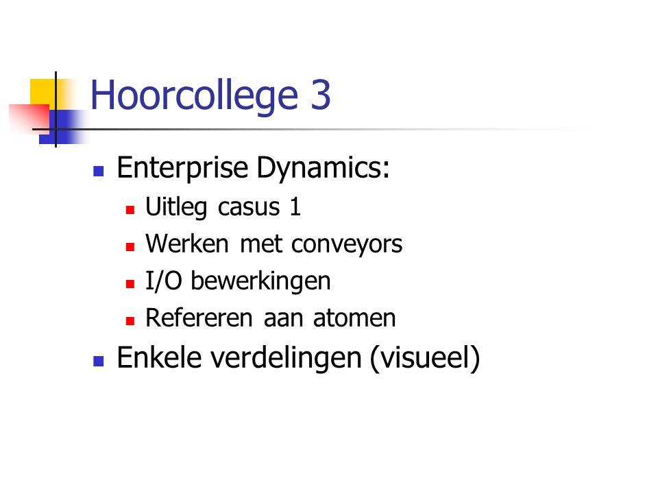 Hoorcollege 3 Enterprise Dynamics: Uitleg casus 1 Werken met conveyors I/O bewerkingen Refereren aan atomen Enkele verdelingen (visueel)