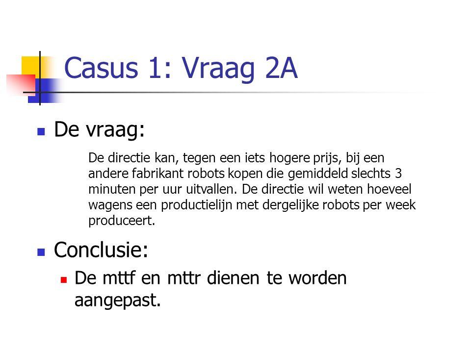 Casus 1: Vraag 2A De vraag: Conclusie: De mttf en mttr dienen te worden aangepast. De directie kan, tegen een iets hogere prijs, bij een andere fabrik