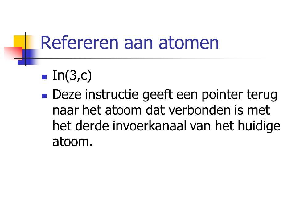 Refereren aan atomen In(3,c) Deze instructie geeft een pointer terug naar het atoom dat verbonden is met het derde invoerkanaal van het huidige atoom.