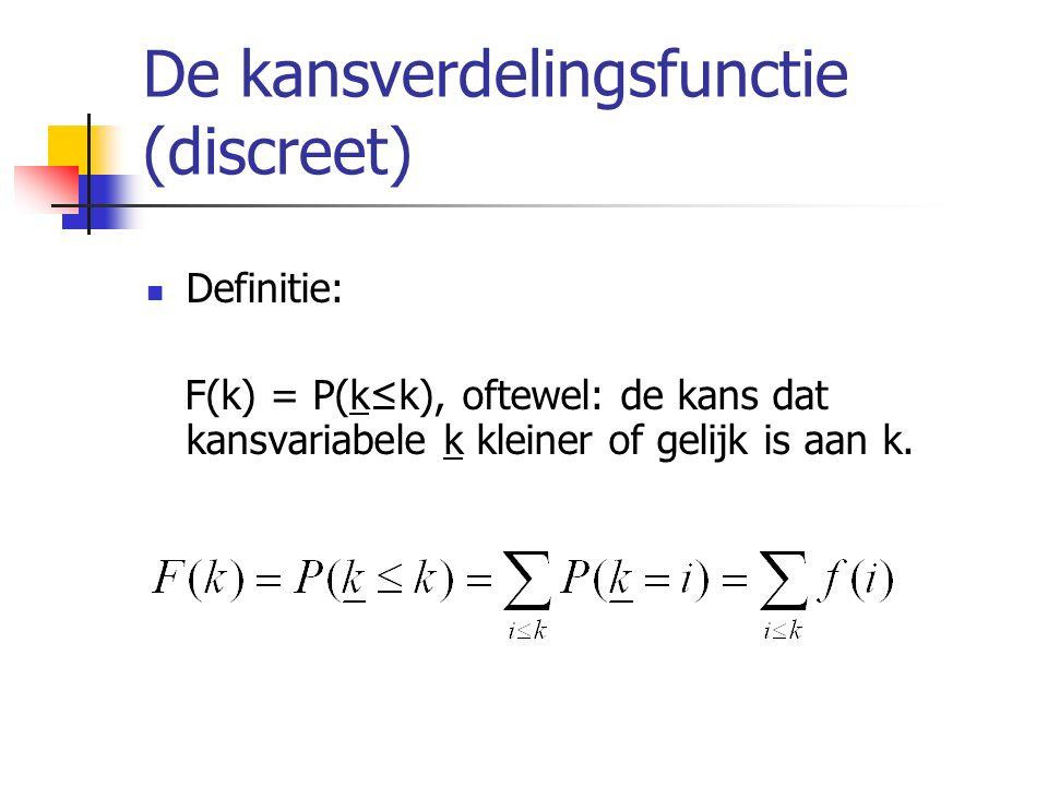 De kansverdelingsfunctie (discreet) Definitie: F(k) = P(k≤k), oftewel: de kans dat kansvariabele k kleiner of gelijk is aan k.