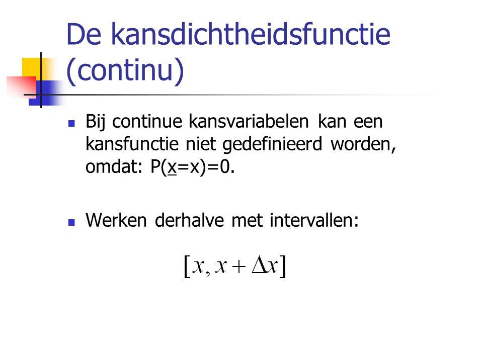 De kansdichtheidsfunctie (continu) Bij continue kansvariabelen kan een kansfunctie niet gedefinieerd worden, omdat: P(x=x)=0. Werken derhalve met inte