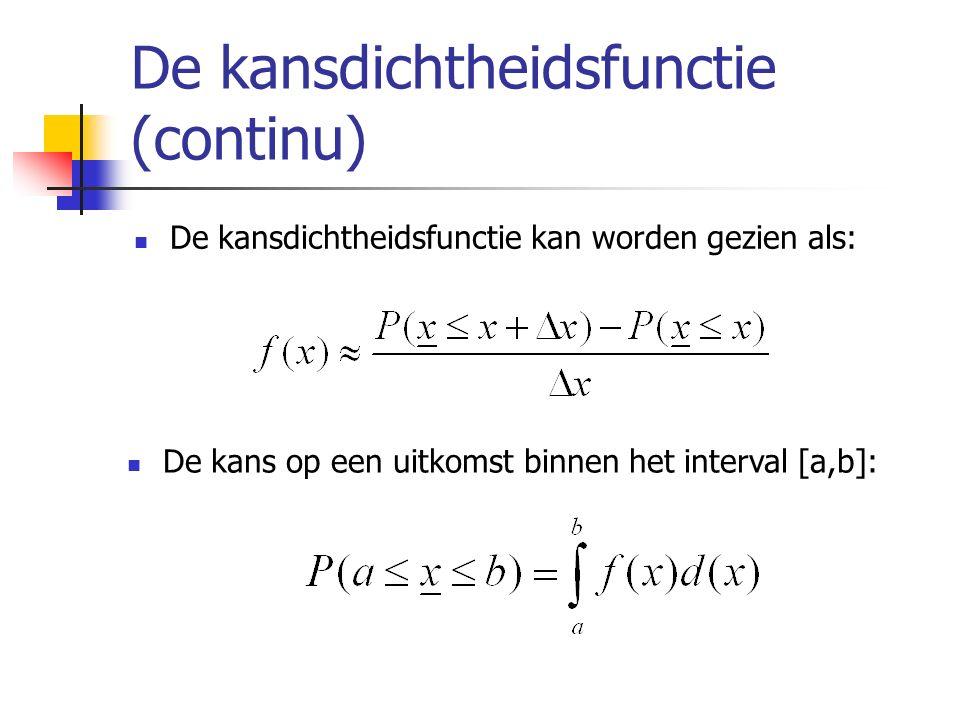 De kansdichtheidsfunctie (continu) De kansdichtheidsfunctie kan worden gezien als: De kans op een uitkomst binnen het interval [a,b]: