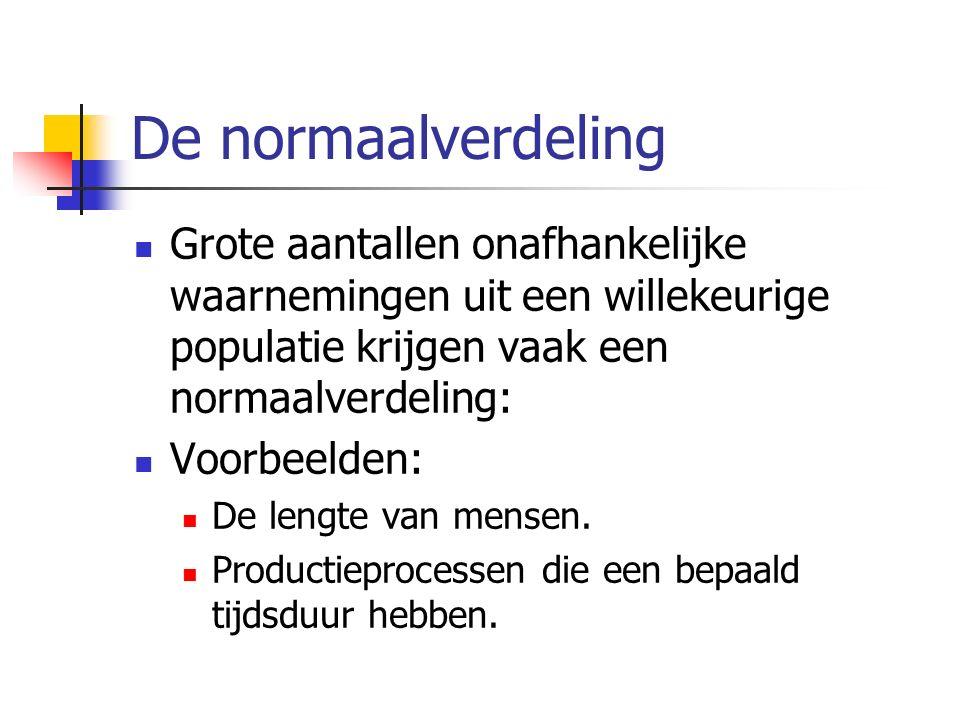 De normaalverdeling Grote aantallen onafhankelijke waarnemingen uit een willekeurige populatie krijgen vaak een normaalverdeling: Voorbeelden: De leng