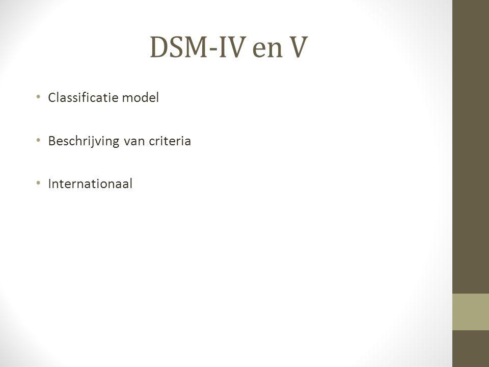 Classificatie model Beschrijving van criteria Internationaal DSM-IV en V