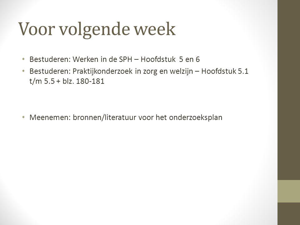 Voor volgende week Bestuderen: Werken in de SPH – Hoofdstuk 5 en 6 Bestuderen: Praktijkonderzoek in zorg en welzijn – Hoofdstuk 5.1 t/m 5.5 + blz.