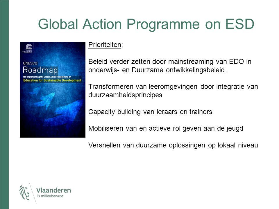 Global Action Programme on ESD Prioriteiten: Beleid verder zetten door mainstreaming van EDO in onderwijs- en Duurzame ontwikkelingsbeleid.