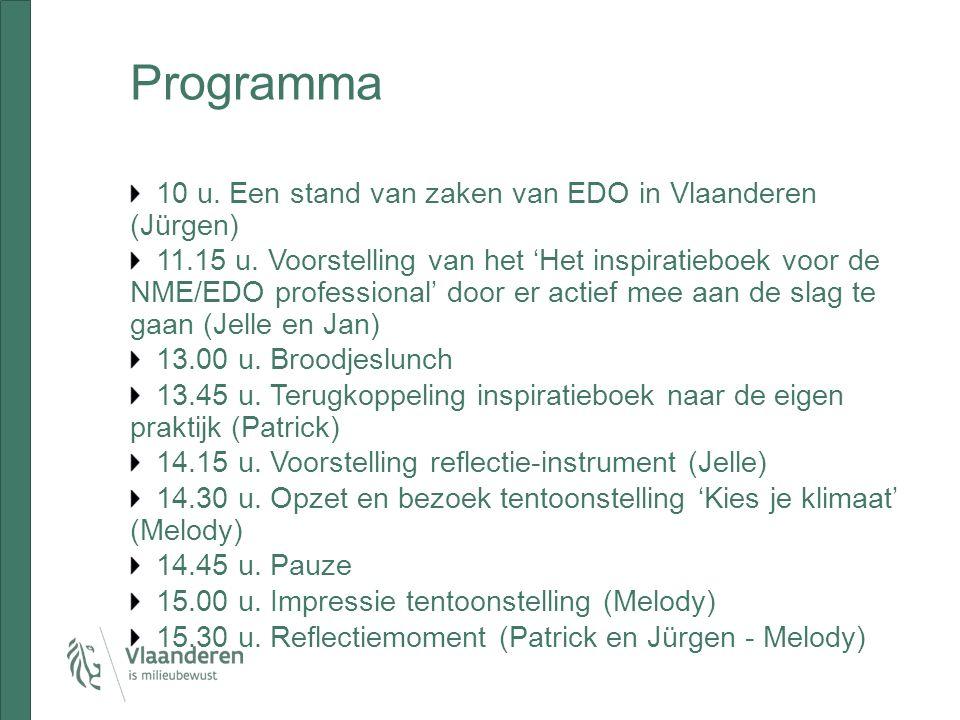 Programma 10 u. Een stand van zaken van EDO in Vlaanderen (Jürgen) 11.15 u.