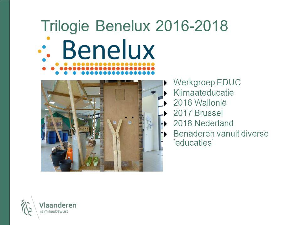 Trilogie Benelux 2016-2018 Werkgroep EDUC Klimaateducatie 2016 Wallonië 2017 Brussel 2018 Nederland Benaderen vanuit diverse 'educaties'