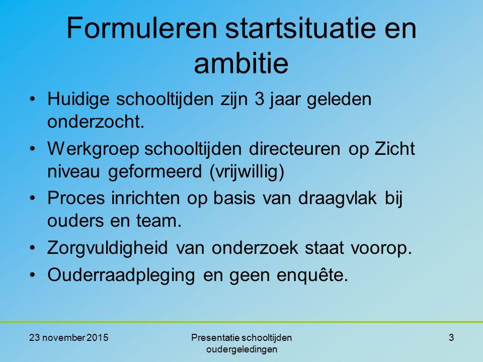 Formuleren startsituatie en ambitie Huidige schooltijden zijn 3 jaar geleden onderzocht. Werkgroep schooltijden directeuren op Zicht niveau geformeerd