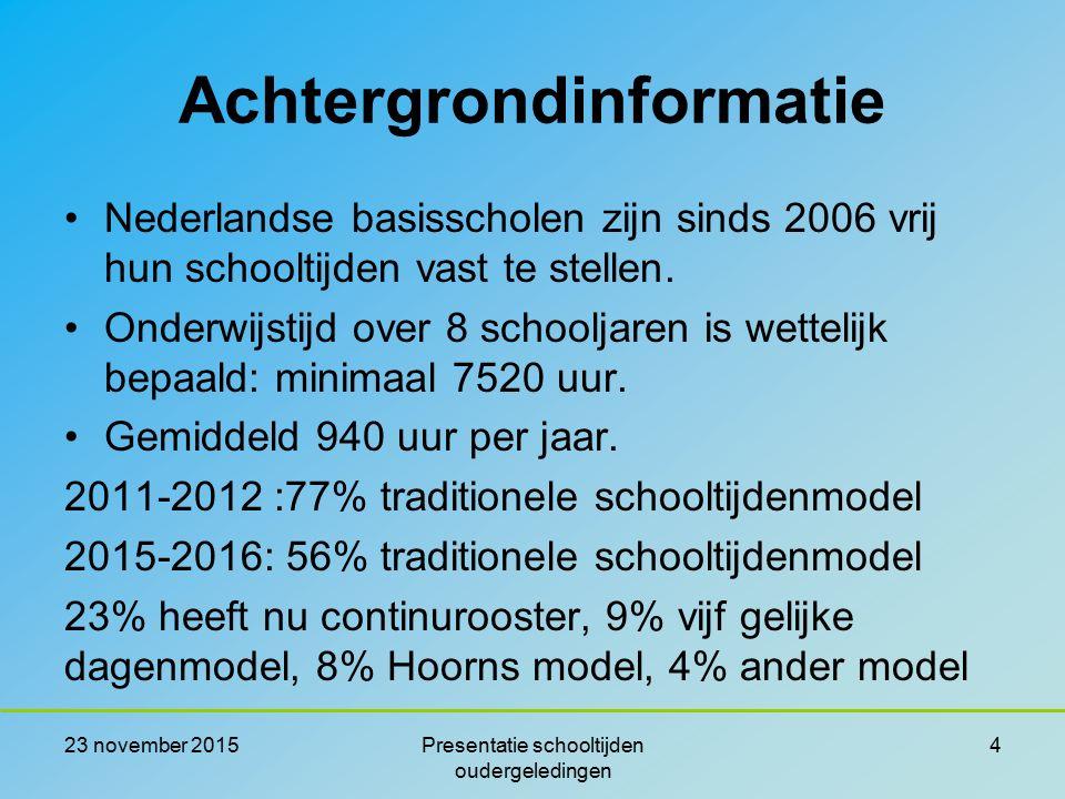 Achtergrondinformatie Nederlandse basisscholen zijn sinds 2006 vrij hun schooltijden vast te stellen. Onderwijstijd over 8 schooljaren is wettelijk be