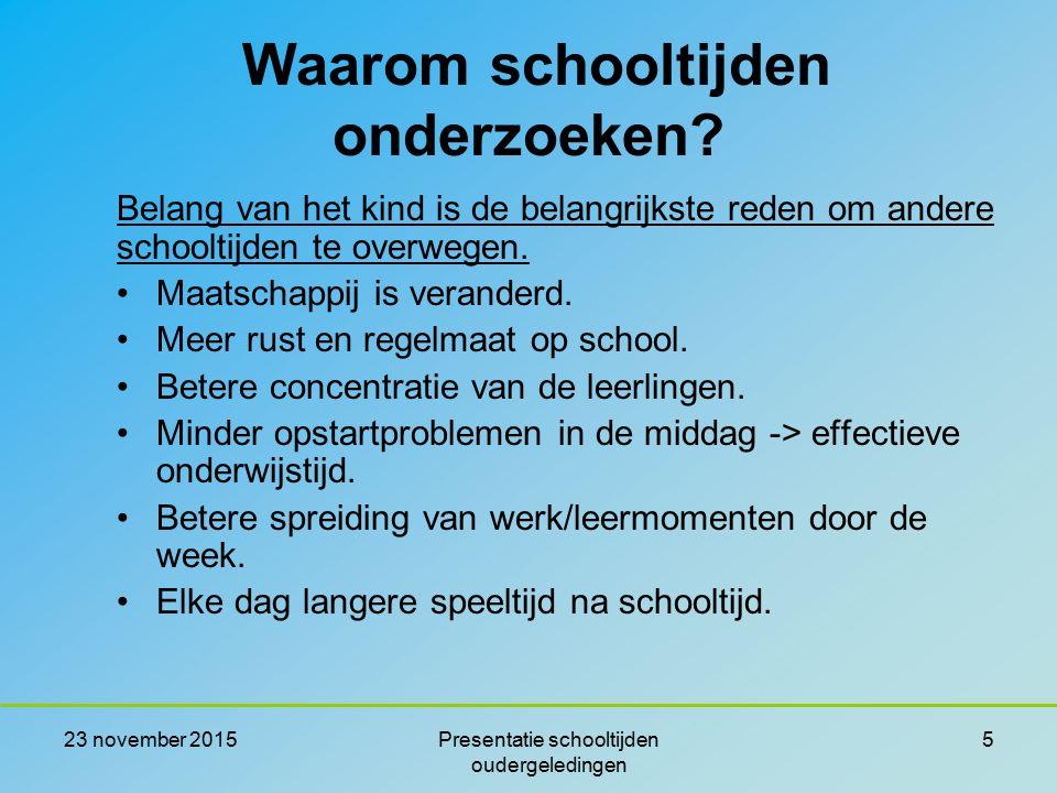 23 november 2015Presentatie schooltijden oudergeledingen 5 Belang van het kind is de belangrijkste reden om andere schooltijden te overwegen. Maatscha