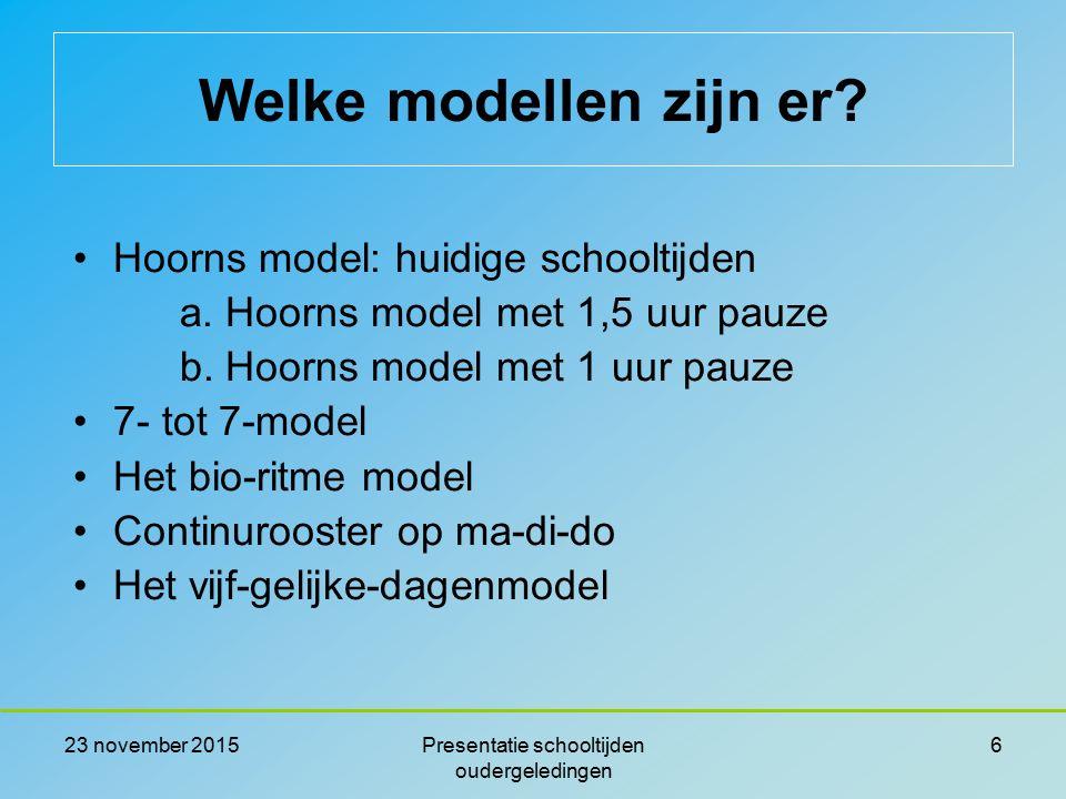 23 november 2015Presentatie schooltijden oudergeledingen 6 Hoorns model: huidige schooltijden a. Hoorns model met 1,5 uur pauze b. Hoorns model met 1