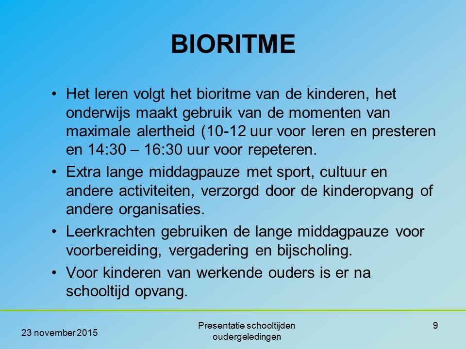 BIORITME Het leren volgt het bioritme van de kinderen, het onderwijs maakt gebruik van de momenten van maximale alertheid (10-12 uur voor leren en pre