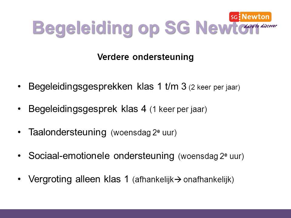 Begeleiding op SG Newton Verdere ondersteuning Begeleidingsgesprekken klas 1 t/m 3 (2 keer per jaar) Begeleidingsgesprek klas 4 (1 keer per jaar) Taalondersteuning (woensdag 2 e uur) Sociaal-emotionele ondersteuning (woensdag 2 e uur) Vergroting alleen klas 1 (afhankelijk  onafhankelijk)