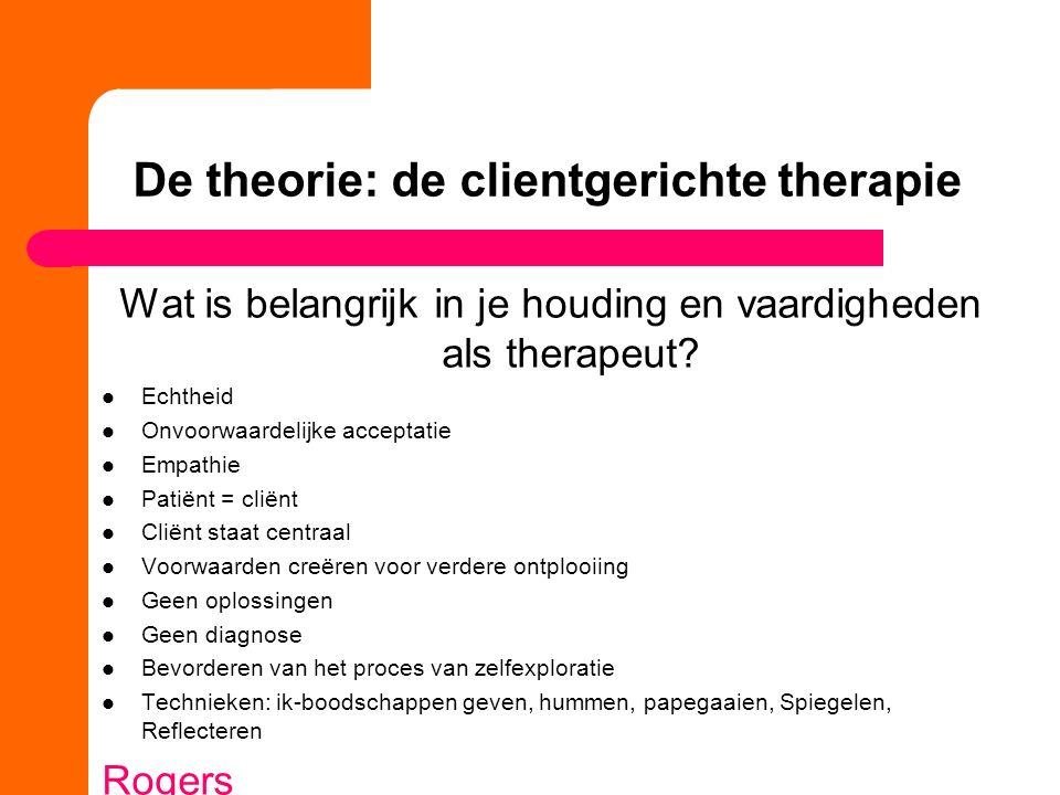 De theorie: de clientgerichte therapie Wat is belangrijk in je houding en vaardigheden als therapeut.