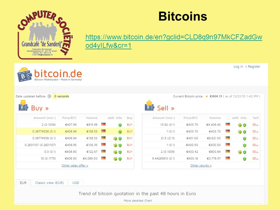 Bitcoins https://www.bitcoin.de/en gclid=CLD8q9n97MkCFZadGw od4yILfw&cr=1