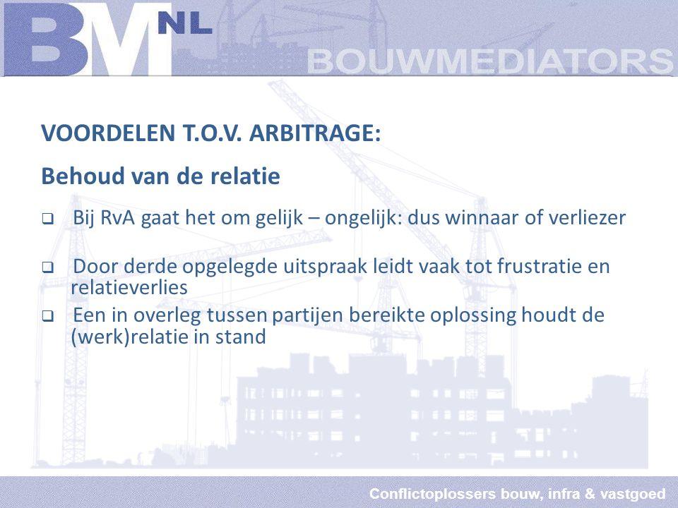 Conflictoplossers bouw, infra & vastgoed VOORDELEN T.O.V.