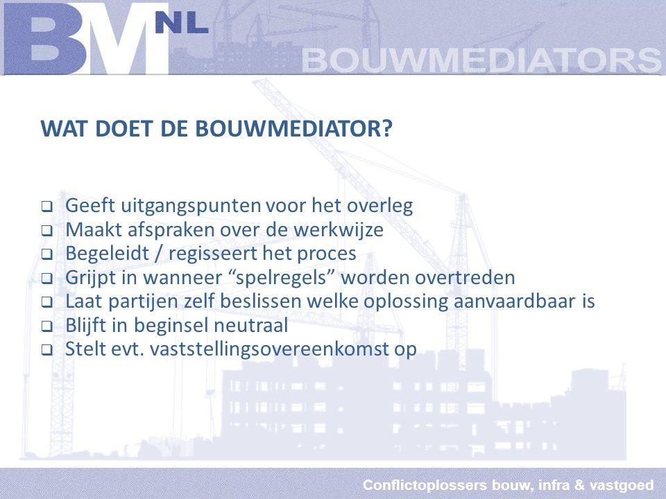 Conflictoplossers bouw, infra & vastgoed WAT DOET DE BOUWMEDIATOR.
