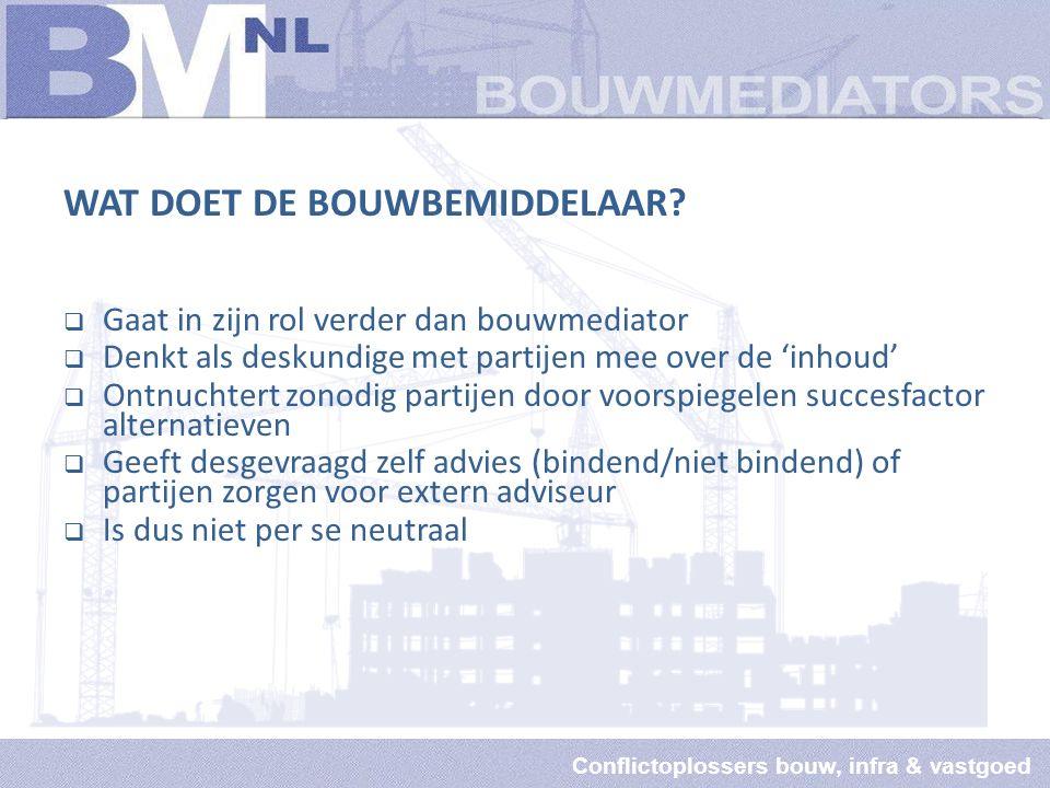 Conflictoplossers bouw, infra & vastgoed WAT DOET DE BOUWBEMIDDELAAR.