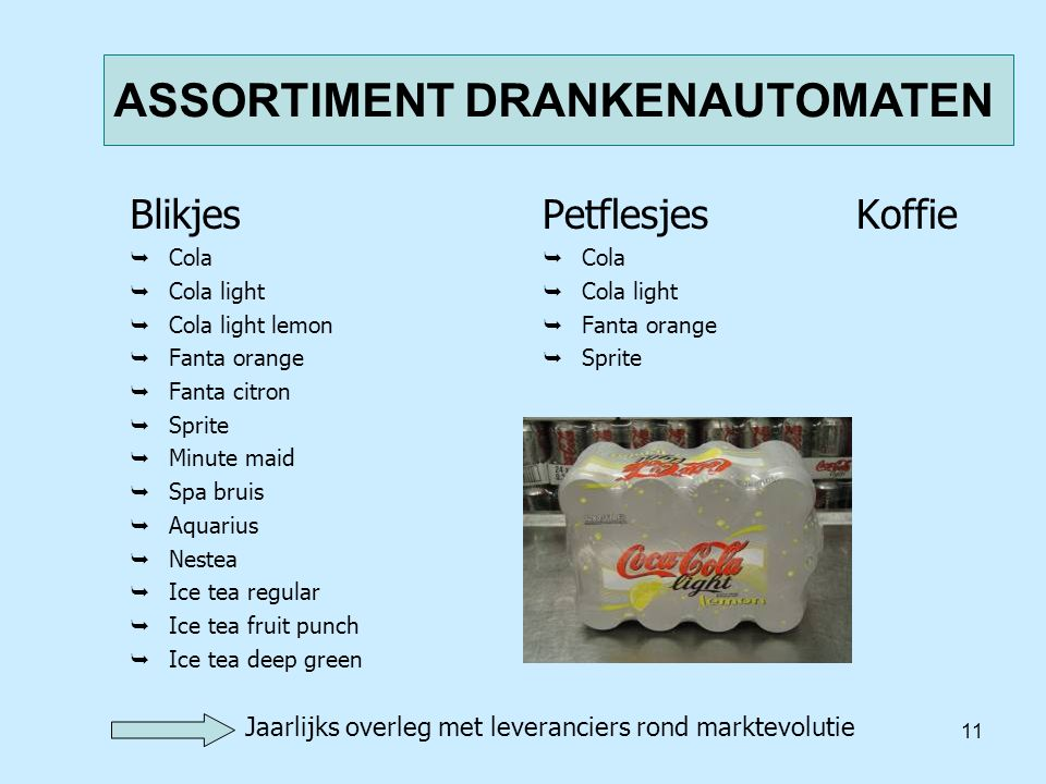 11 ASSORTIMENT DRANKENAUTOMATEN Blikjes  Cola  Cola light  Cola light lemon  Fanta orange  Fanta citron  Sprite  Minute maid  Spa bruis  Aqua