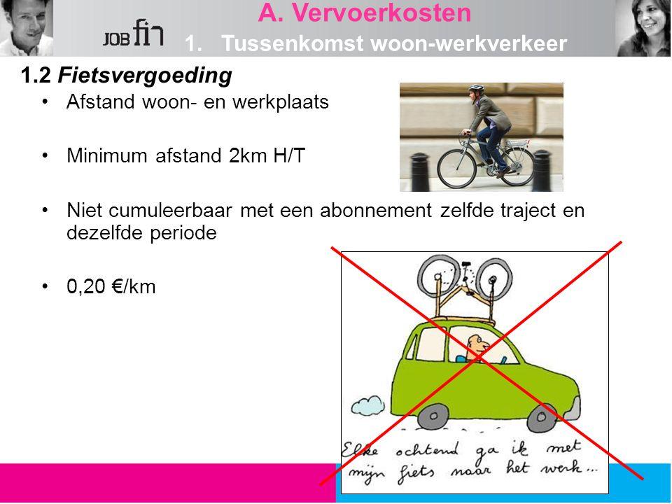 1.2 Fietsvergoeding A. Vervoerkosten Afstand woon- en werkplaats Minimum afstand 2km H/T Niet cumuleerbaar met een abonnement zelfde traject en dezelf