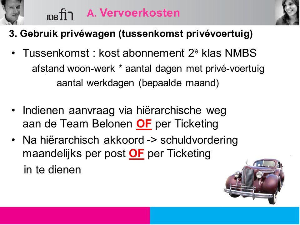 A. Vervoerkosten 3. Gebruik privéwagen (tussenkomst privévoertuig) Tussenkomst : kost abonnement 2 e klas NMBS afstand woon-werk * aantal dagen met pr