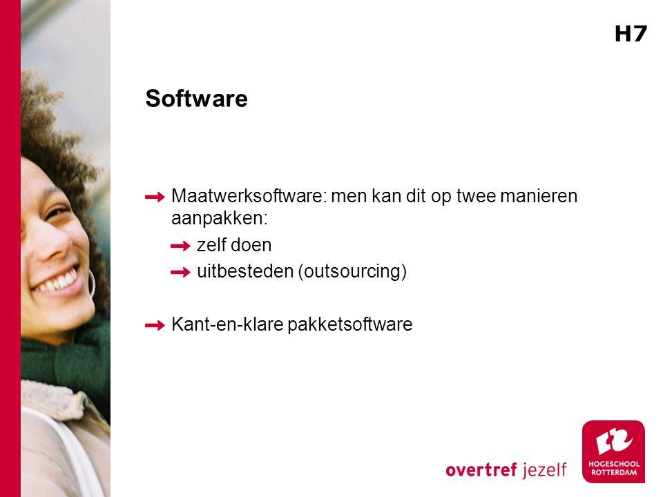 Software Maatwerksoftware: men kan dit op twee manieren aanpakken: zelf doen uitbesteden (outsourcing) Kant-en-klare pakketsoftware H7