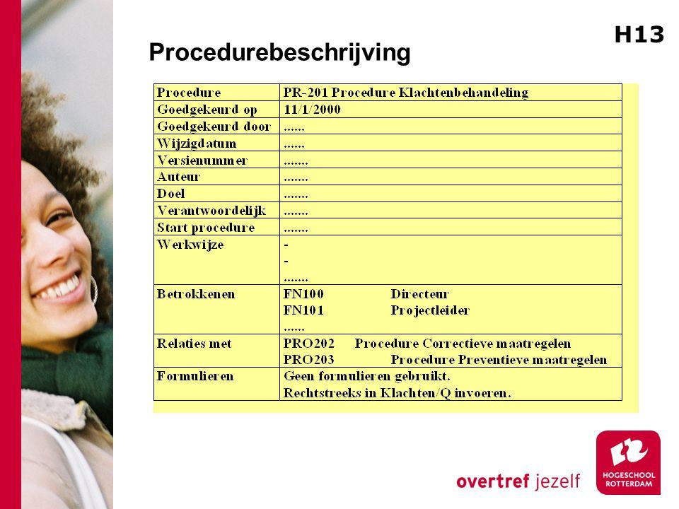 Procedurebeschrijving H13