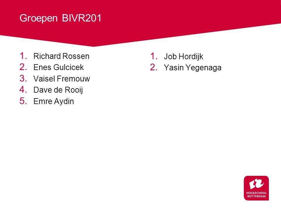 Groepen BIVR201 1. Richard Rossen 2. Enes Gulcicek 3.