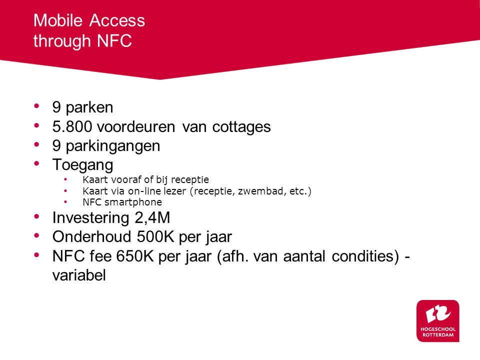 9 parken 5.800 voordeuren van cottages 9 parkingangen Toegang Kaart vooraf of bij receptie Kaart via on-line lezer (receptie, zwembad, etc.) NFC smartphone Investering 2,4M Onderhoud 500K per jaar NFC fee 650K per jaar (afh.
