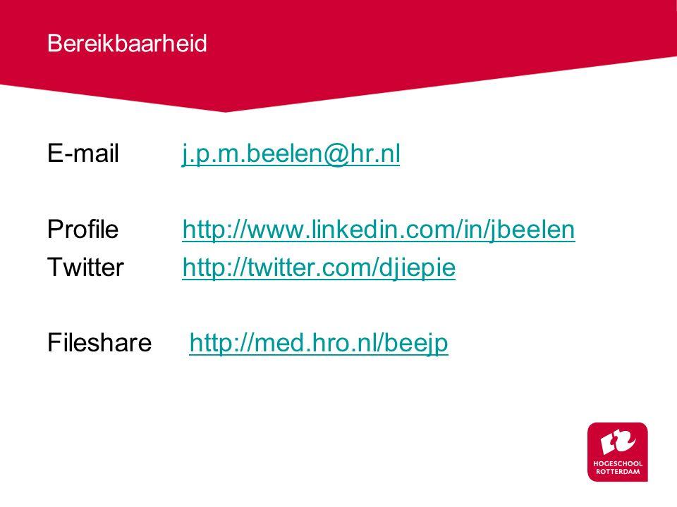 Bereikbaarheid E-mailj.p.m.beelen@hr.nlj.p.m.beelen@hr.nl Profilehttp://www.linkedin.com/in/jbeelenhttp://www.linkedin.com/in/jbeelen Twitterhttp://twitter.com/djiepiehttp://twitter.com/djiepie Fileshare http://med.hro.nl/beejphttp://med.hro.nl/beejp
