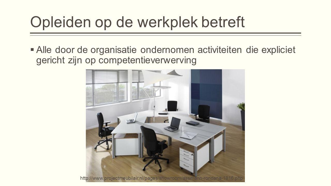 Opleiden op de werkplek betreft  Alle door de organisatie ondernomen activiteiten die expliciet gericht zijn op competentieverwerving http://www.projectmeubilair.nl/pages/showroom/assmann-rondana-1816.php