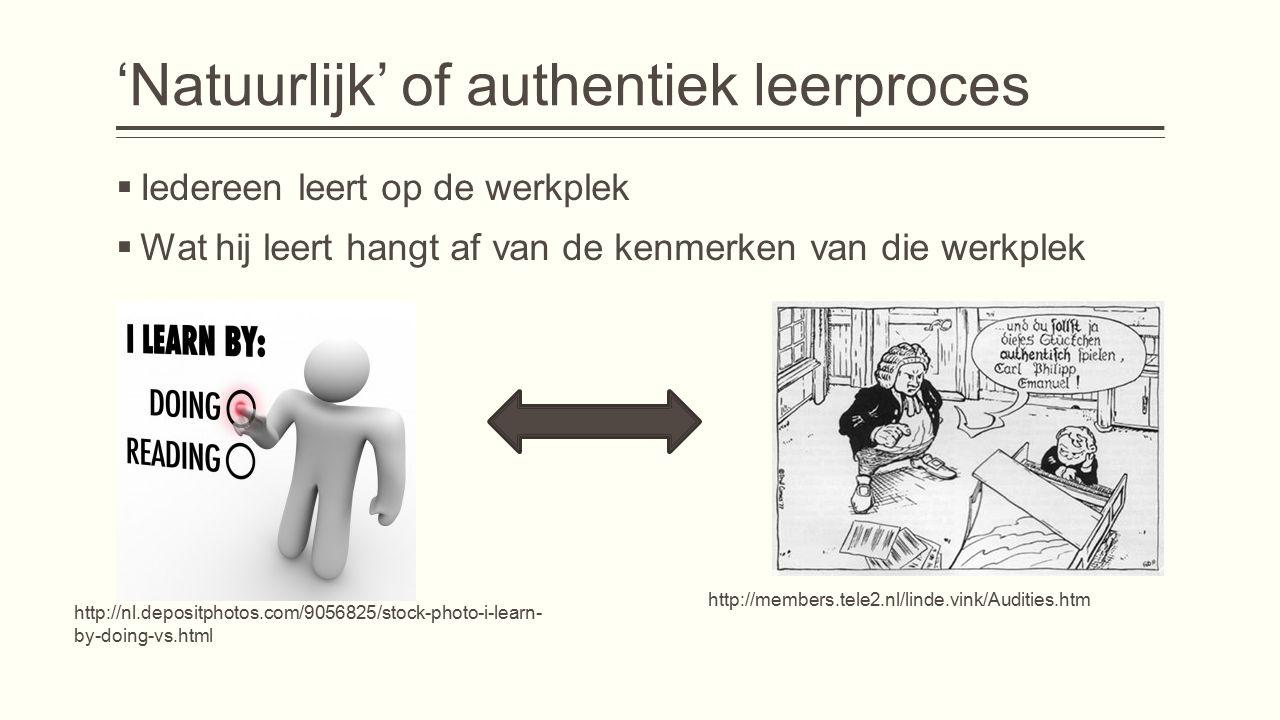 'Natuurlijk' of authentiek leerproces  Iedereen leert op de werkplek  Wat hij leert hangt af van de kenmerken van die werkplek http://members.tele2.nl/linde.vink/Audities.htm http://nl.depositphotos.com/9056825/stock-photo-i-learn- by-doing-vs.html