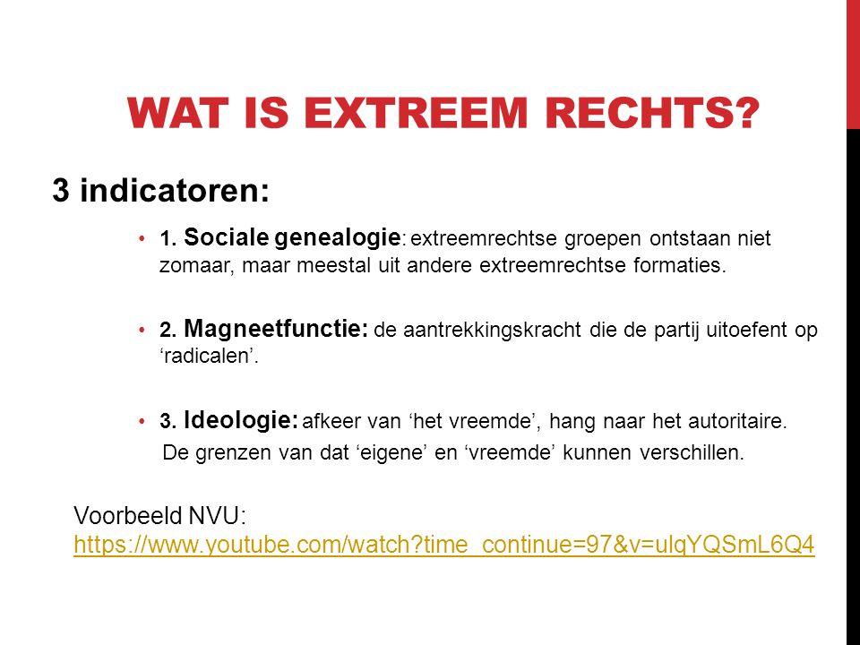 WAT IS EXTREEM RECHTS. 3 indicatoren: 1.