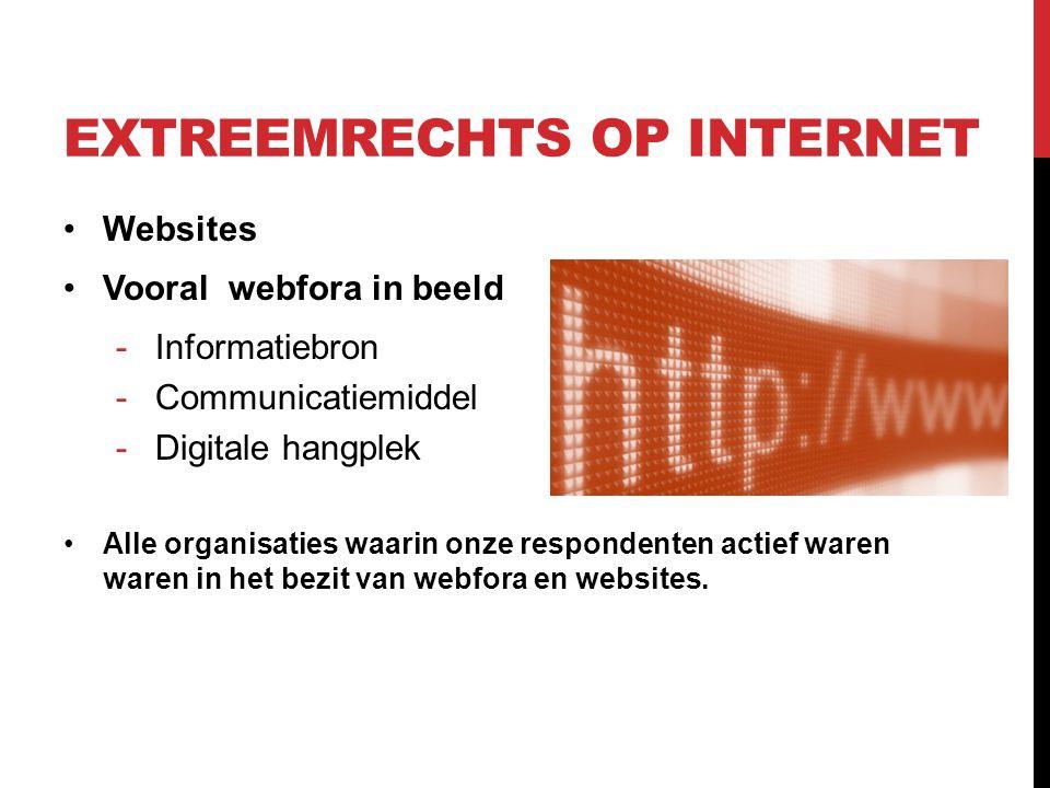 EXTREEMRECHTS OP INTERNET Websites Vooral webfora in beeld -Informatiebron -Communicatiemiddel -Digitale hangplek Alle organisaties waarin onze respondenten actief waren waren in het bezit van webfora en websites.