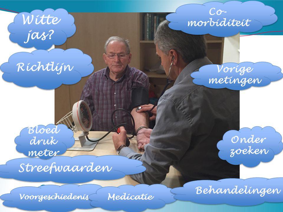 Witte jas? Co- morbiditeit Vorige metingen Streefwaarden Richtlijn Bloed druk meter Voorgeschiedenis Medicatie Onder zoeken Behandelingen