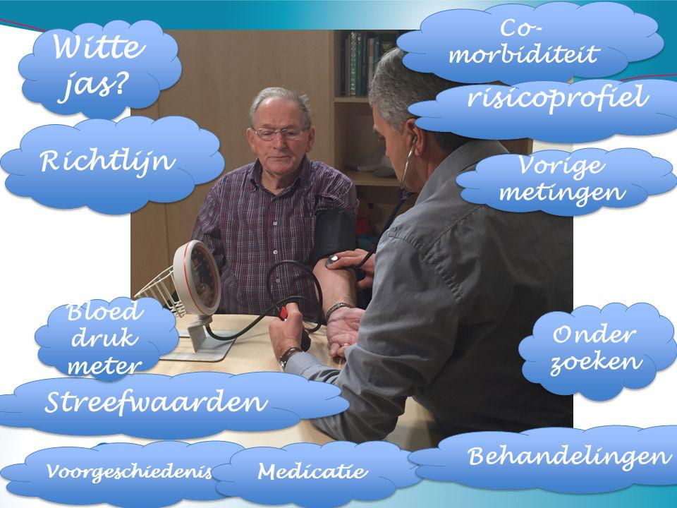 Witte jas? Co- morbiditeit Vorige metingen Streefwaarden Richtlijn Bloed druk meter Voorgeschiedenis Medicatie Onder zoeken Behandelingen risicoprofie