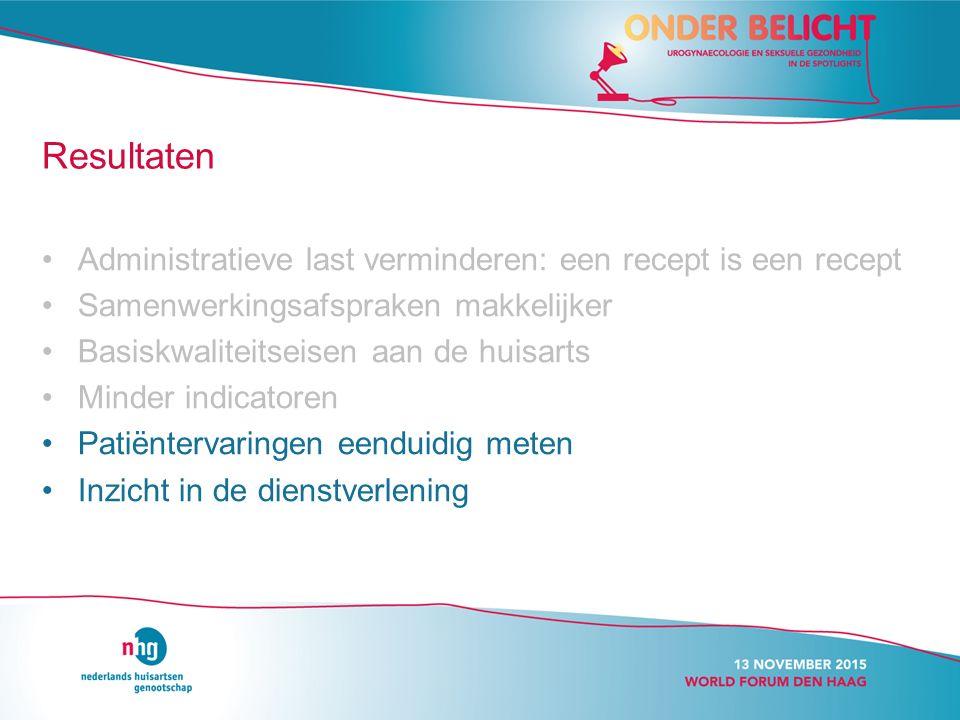 Resultaten Administratieve last verminderen: een recept is een recept Samenwerkingsafspraken makkelijker Basiskwaliteitseisen aan de huisarts Minder i