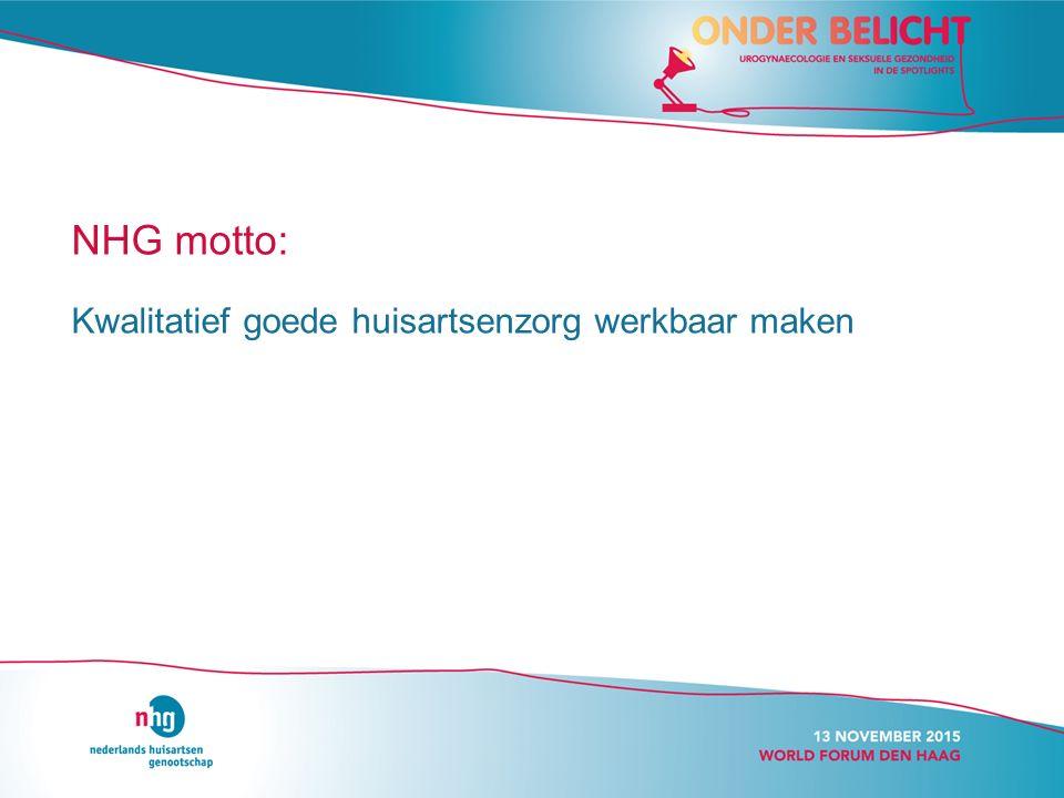 NHG motto: Kwalitatief goede huisartsenzorg werkbaar maken