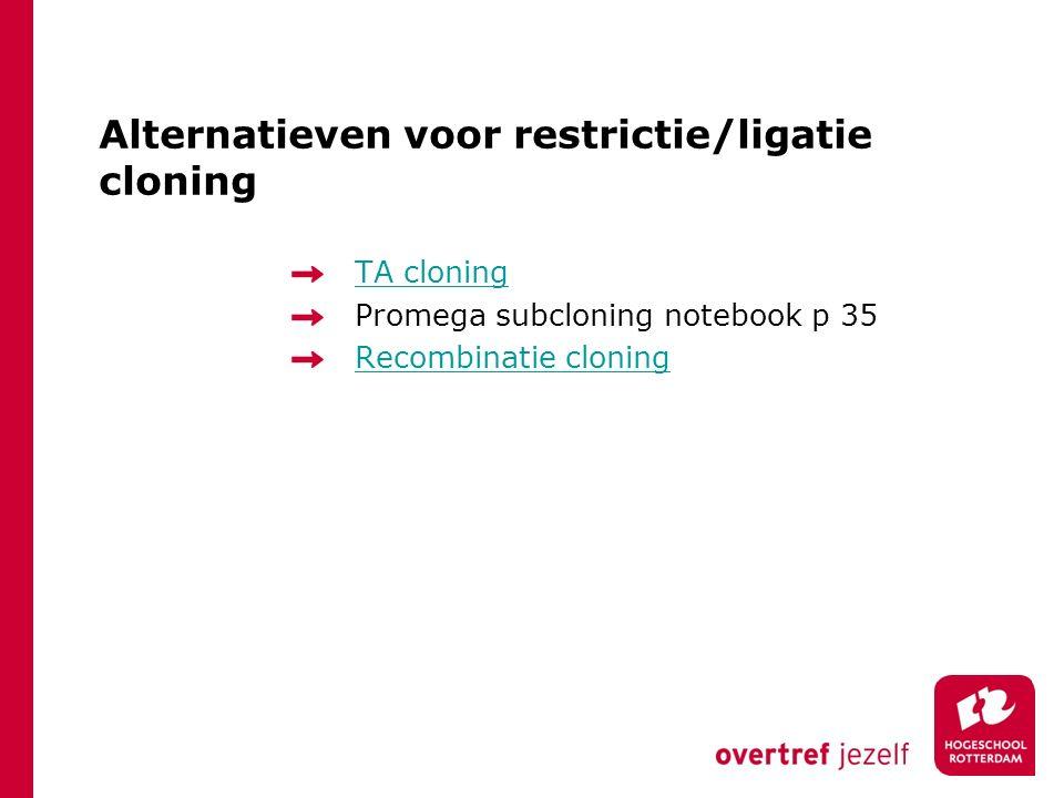 Alternatieven voor restrictie/ligatie cloning TA cloning Promega subcloning notebook p 35 Recombinatie cloning