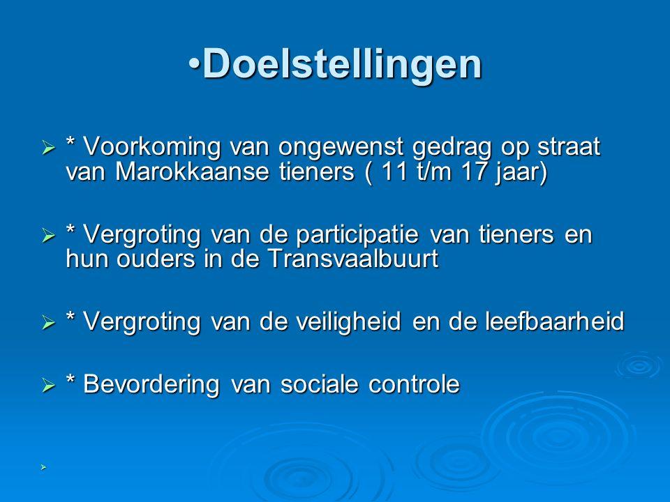 DoelstellingenDoelstellingen  * Voorkoming van ongewenst gedrag op straat van Marokkaanse tieners ( 11 t/m 17 jaar)  * Vergroting van de participatie van tieners en hun ouders in de Transvaalbuurt  * Vergroting van de veiligheid en de leefbaarheid  * Bevordering van sociale controle 