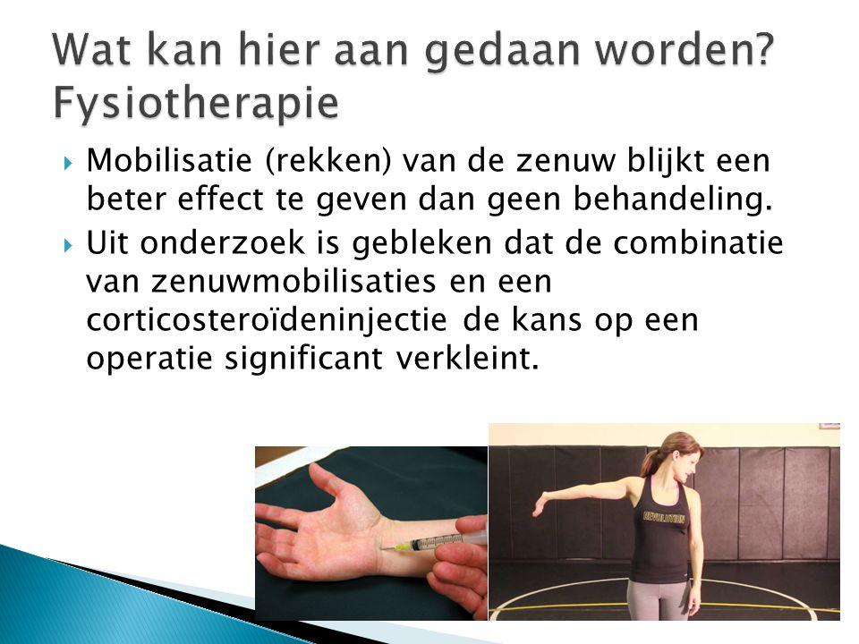  Mobilisatie (rekken) van de zenuw blijkt een beter effect te geven dan geen behandeling.  Uit onderzoek is gebleken dat de combinatie van zenuwmobi