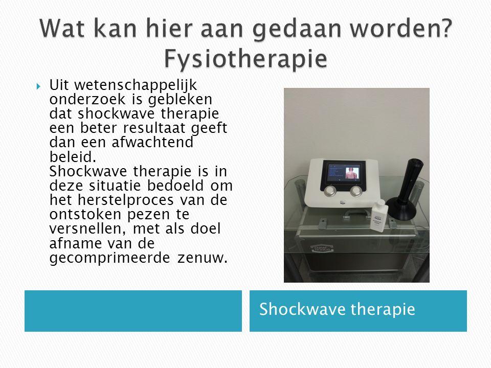 Shockwave therapie  Uit wetenschappelijk onderzoek is gebleken dat shockwave therapie een beter resultaat geeft dan een afwachtend beleid.