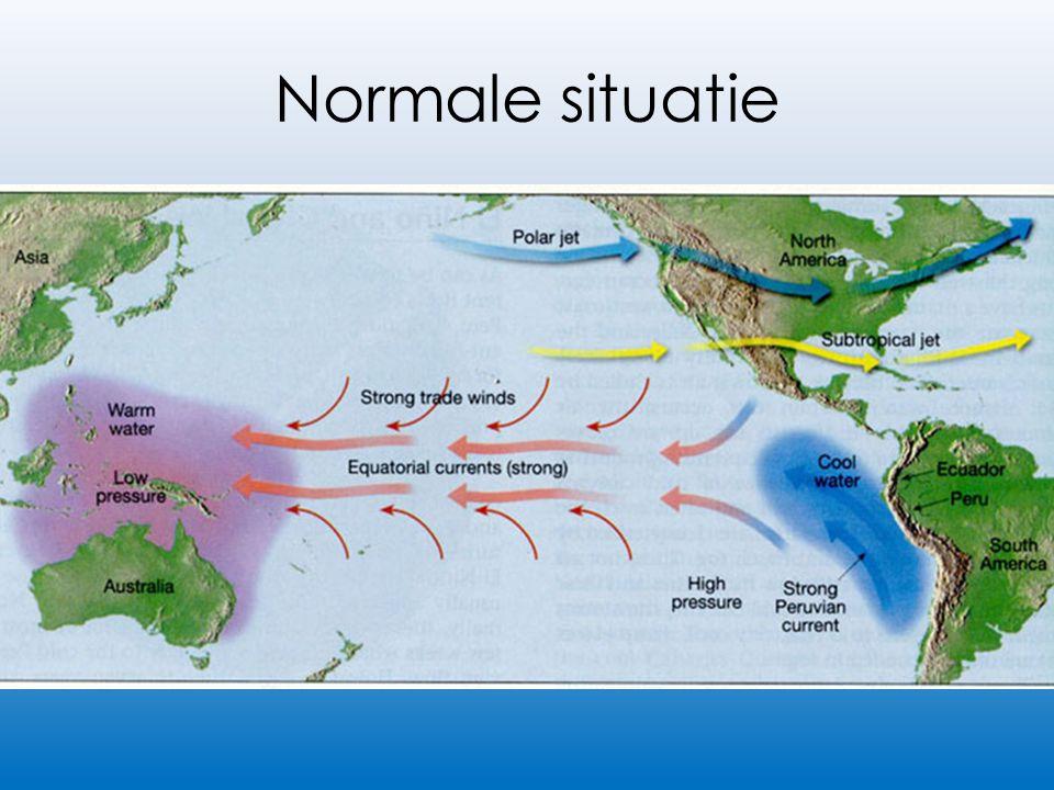 Normale situatie Lage druk boven Azië Hoge druk boven Zuid-Amerika Passaatwinden waaien het warme oppervlaktewater naar Azië over ITCZ Warm water in Azië, veel neerslag Arctisch zeewater ververst en onderhoudt het ecosysteem voor de Zuid-Amerikaanse kust