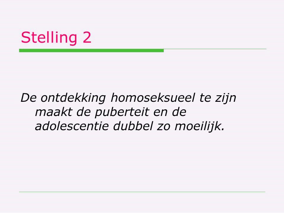 Stelling 2 De ontdekking homoseksueel te zijn maakt de puberteit en de adolescentie dubbel zo moeilijk.