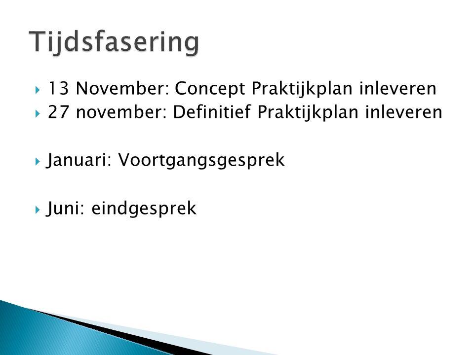  13 November: Concept Praktijkplan inleveren  27 november: Definitief Praktijkplan inleveren  Januari: Voortgangsgesprek  Juni: eindgesprek