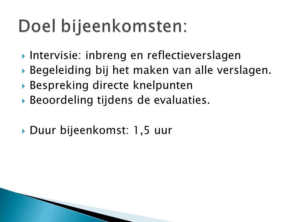  Intervisie: inbreng en reflectieverslagen  Begeleiding bij het maken van alle verslagen.