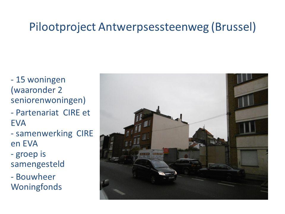 Pilootproject Antwerpsessteenweg (Brussel) - 15 woningen (waaronder 2 seniorenwoningen) - Partenariat CIRE et EVA - samenwerking CIRE en EVA - groep is samengesteld - Bouwheer Woningfonds