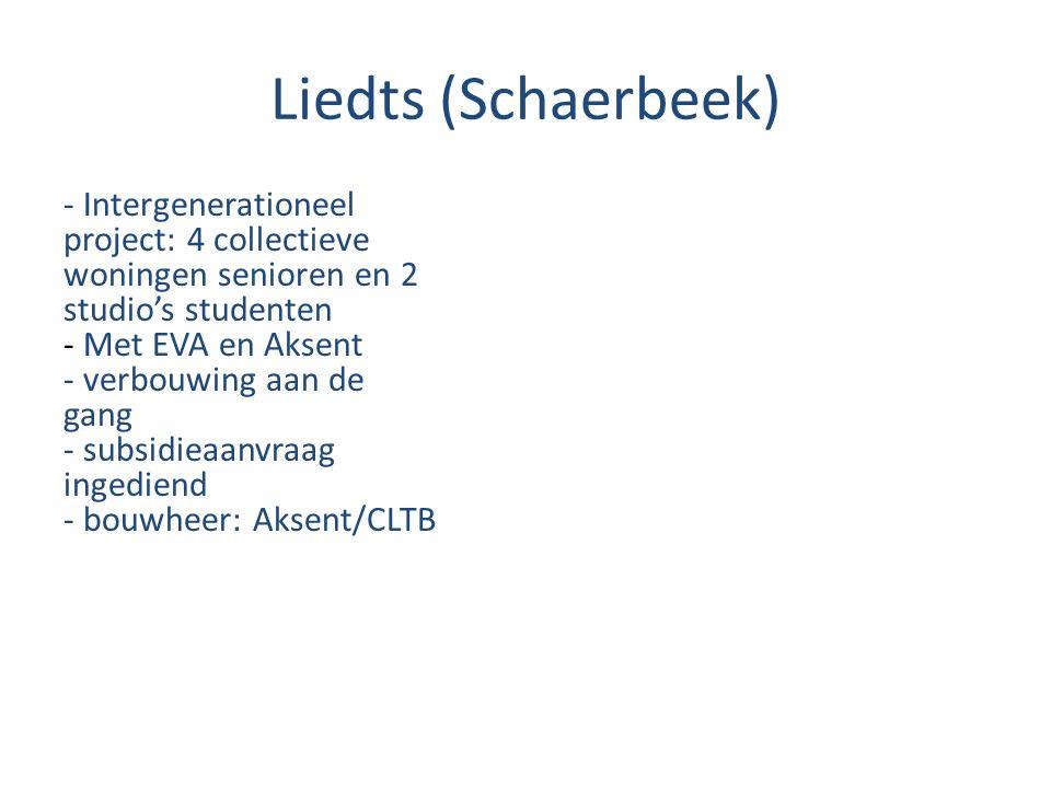 Liedts (Schaerbeek) - Intergenerationeel project: 4 collectieve woningen senioren en 2 studio's studenten - Met EVA en Aksent - verbouwing aan de gang - subsidieaanvraag ingediend - bouwheer: Aksent/CLTB